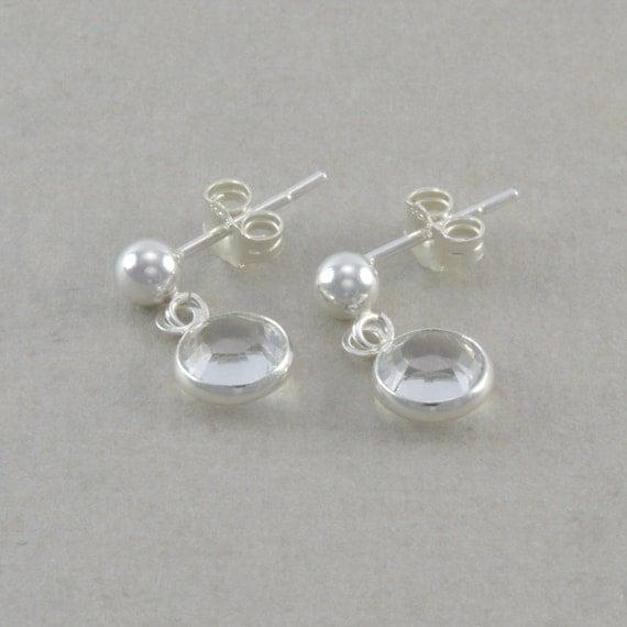 Little Girls Earrings Sterling Silver clear by ...