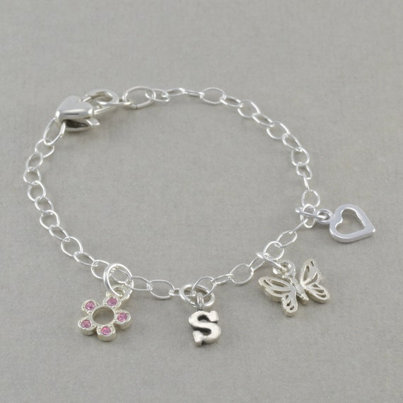 Flower girl bracelets charm bracelet sterling silver heart initial