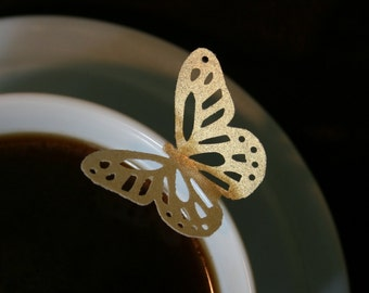 15 wafer Elegant Monarch Butterflies in Gold, Silver or Pearl