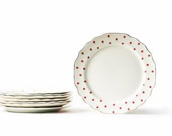Dessert Plates | Vintage | Ceramic | Lido Blushing Rose | Set of Eight