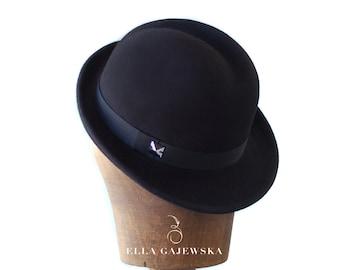 Classic Black Trilby Hat Wool Felt - Asymetric Brim - Women Hand Blocked - Silver Swarovski Elemets - Accessory - Done To Order