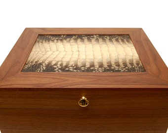 handcrafted walnut humidor with alligator skin top
