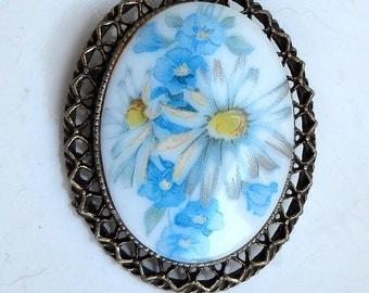 Vintage Blue Floral Cameo Brooch Pin
