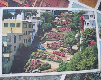 San Francisco - 1970s Large Laminated Photograph Placemats - set of 6 - vintage souvenirs, Lombard Street, Cable Cars, Golden Gate Bridge