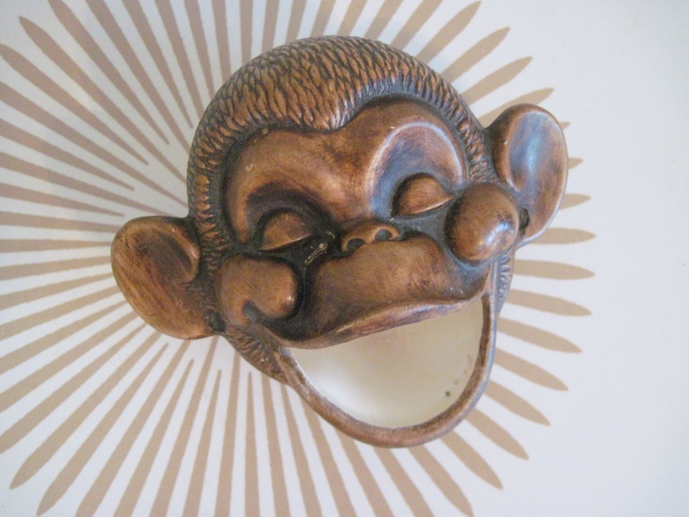 1960s Treasure Craft Monkey Head Ashtray Bowl Or Planter