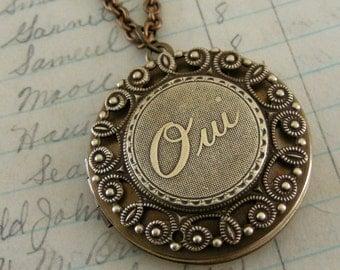 Locket  Necklace - French Locket -  Brass Locket - French Jewelry - Oui Necklace -  Yes Necklace - handmade jewelry