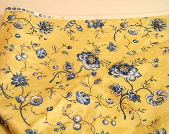 Yellow And Blue Floral Fabric 1 1/2 Yards