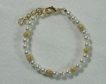 Flower girl gift Swarovski Pearl Bracelet Girls Jewelry First Communion Infant Baptism Pearls Gold Stardust Swarovski White Pearls B091
