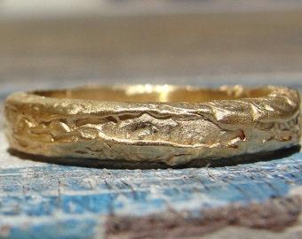 Handmade Wedding Ring , Gold Wedding Ring , 18k Gold Wedding Ring , Wedding Band , Yellow Gold Wedding Band , Unique Wedding Band