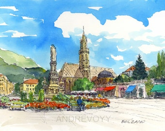 Bolzano Bozen Italy art print from original watercolor painting