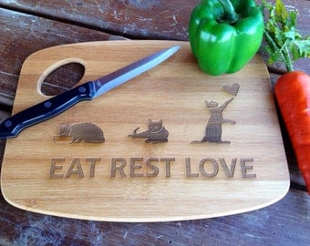 Cat Lovers Eat Rest Love engraved cutting board laser engraving bamboo wedding gift handmade