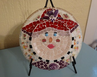 Red Hat Lady, Mosaic on plate,vintage china cute colorful, unique gift .