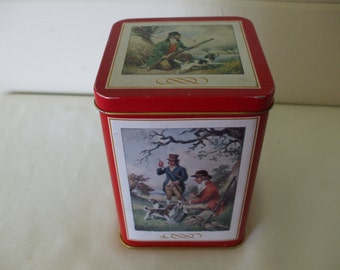 Tin, Fishing and Hunting Scenes,  Hinged Lid.  Viintage,