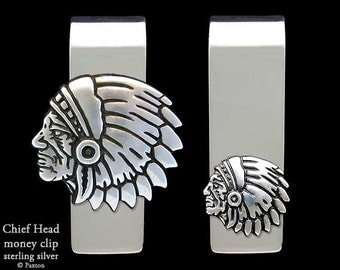 Indian Chief Head Money Clip Sterling Silver