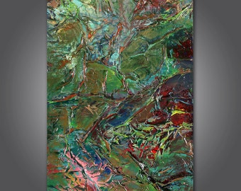 Amphibian  original abstract acrylic painting 24 x 48