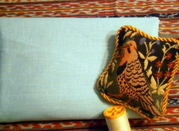 Pure LINEN fabric Robins Egg BLUE ecofriendly sewing supplies home decor from MyGypsyCottage on Etsy
