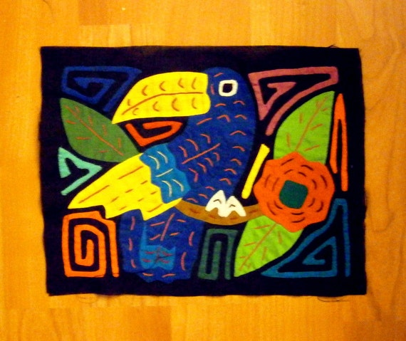 MOLA MOLITA  Native Kuna Indian applique Panama Toucan tribal ethnic from MyGypsyCottage on Etsy