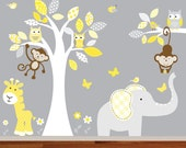 Childrens Jungle Wall Decal Nursery Tree Owl Bird Elephant Giraffe Yellow and Grey Kids Playroom Decal