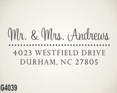 Custom Address Stamp - calligraphy handwriting script,  personalized address stamp, wedding gift (G4039)