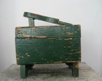 homemade shabby green painted antique wooden shoeshine box