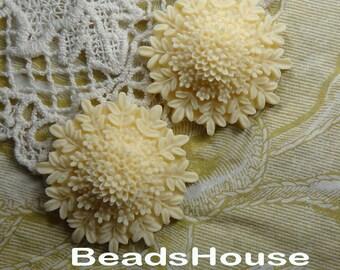 10% 676-00-CA  4pcs Beautiful Colorful Bouquet Flower Cabochon,Lt Ivory