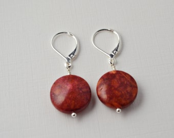Red Sponge Coral Jewelry, Comfortable Earrings, Silver Leverback, Gifts Under 20, Gifts For A Cause, Marsala, Natural Gemstones