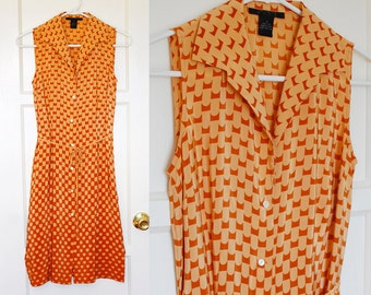The Limited Orange Print Button Down Collar Tank Dress