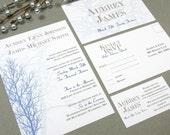 Trees Winter Wedding Invitation Set by RunkPock Designs : Monogram Script Modern Suite shown in Navy / Pale Blue / Brown
