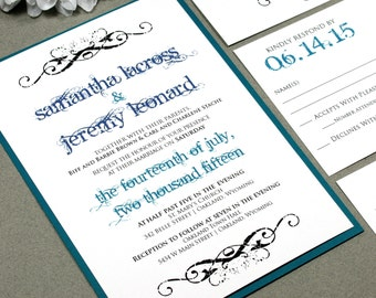 Calligraphy Wedding Invitation Set, Script Wedding Invitations, Scroll Wedding Invitation Swirl, Purple and Teal Wedding Invitation Pocket