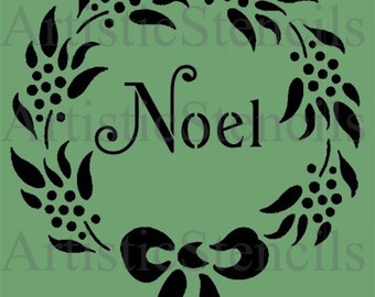 STENCIL  Noel Wreath with Bow 10X8.5