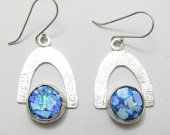 Amazing Hand Made Roman Glass 925 Sterling Silver Earrings
