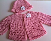 Crochet Baby Sweater Hat Set Pale Pink