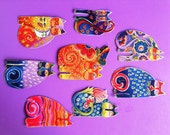 Set of 8 Adorable CAT Appliques Handmade with Laurel Burch fabric/83