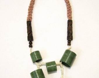 African Crochet Green Painted Handmade Statement Beads Tubes Necklace