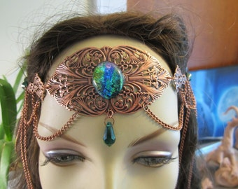 Copper Swarovski Circlet of the Nature Priestess Elven Celtic Druid LARP Bridal Renaissance Cosplay