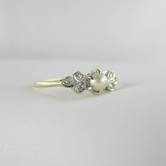 RESERVED Vintage Pearl & Diamond Ring Pearl Engagement by Addy