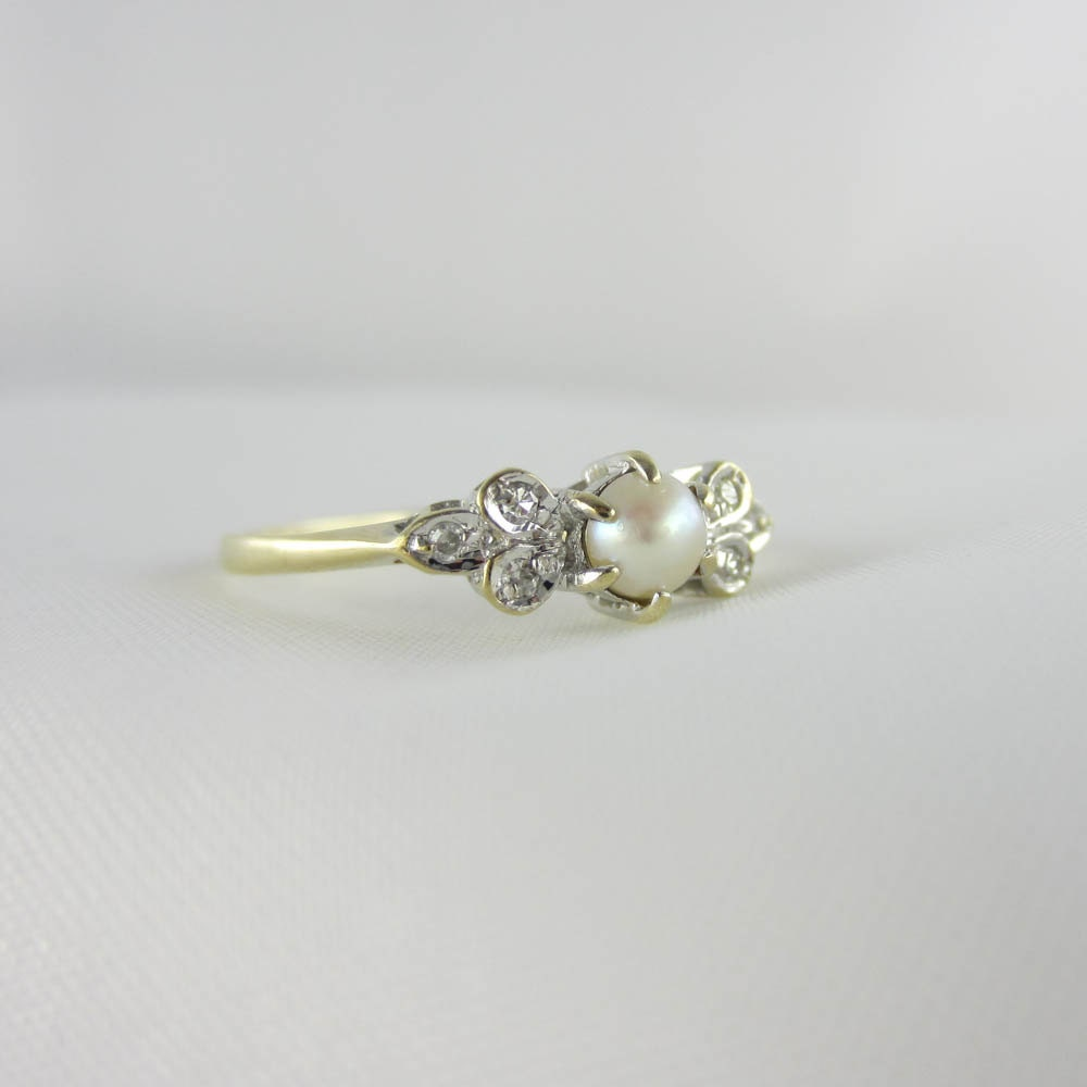Pearl Wedding Ring: RESERVED. Vintage Pearl & Diamond Ring. Pearl Engagement Ring