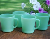 FireKing Anchor Hocking Jadeite D-Handle Coffee Cups, Set of Eight plus Four Pink, RESERVED for kouichiro Meguro