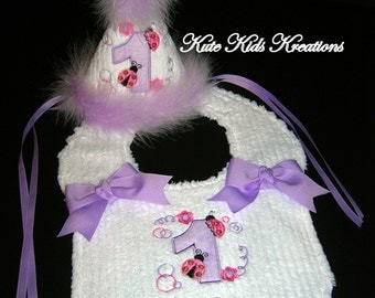 "First Birthday Hat and Bib Set, Ladybug Applique, ""I'm One"" Monogram, Ready to Ship"