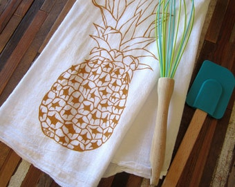 Tea Towel - Screen Printed Flour Sack Towel - Pineapple - Eco Friendly Hand Towel - Art Deco Kitchen Towel - Eco Friendly Cotton Flour Sack