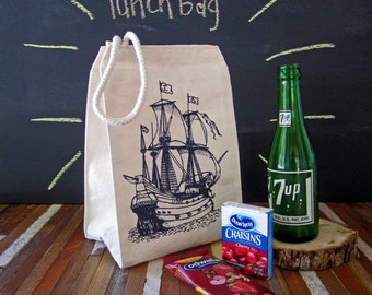 Reusable Lunch Bag - Screen Printed Recycled Cotton Lunch Bag - Eco Friendly Lunch Box - Pirate Ship - Nautical - Lunch Sack - Canvas Bag