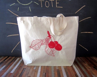 Canvas Tote - Screen Printed Recycled Cotton Grocery Bag - Large Tote Bag - Market Tote - Reusable and Washable - Eco Friendly - Cherry