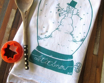 Christmas Tea Towel - Screen Print Tea Towel - Flour Sack Towel - Kitchen Towels - Let it Snow - Snowman - Tea Towels Flour Sack - Towel Set