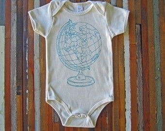 Organic Baby One Piece - Screen Printed Baby Clothing - Globe - Organic Baby Shirt - Infant One Piece - American Apparel Baby Bodysuit