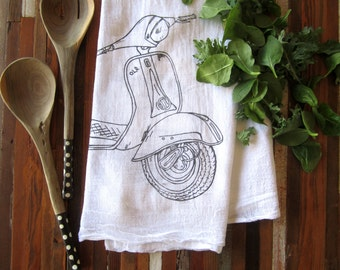 Tea Towel - Screen Printed Flour Sack Towel - Vespa - Eco Friendly Kitchen Towel - Handmade Dish Towel - Natural Cotton Towel - Flour Sack