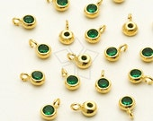 SV-110-GD / 2 Pcs - New Tiny Round CZ Charms (Emerald), 16K Gold Plated over 925 Sterling Silver / 3.6mm x 5.6mm