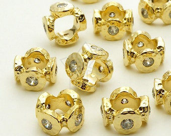ME-176-GD / 2 Pcs - Stone Age Rough CZ Rondele Bead, Gold Plated over Brass / 10mm
