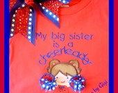 Cheerleader, little sister appliqued shirt with pom poms
