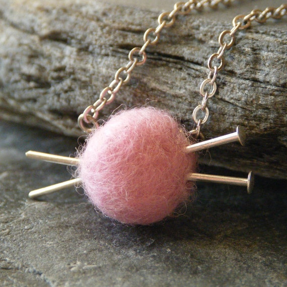 SALE Knitting Jewelry - Pink Yarn and Knitting Needles Necklace, Gifts for Knitters, LAST ONE - 'Love to Knit'