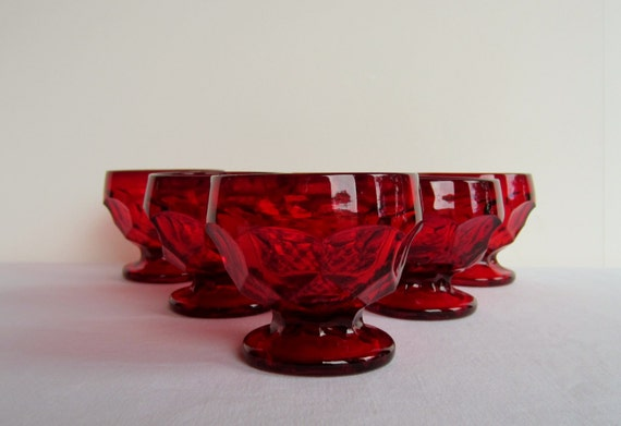 Vintage Viking Crystal Georgian-Ruby Sherbet Glasses - Set of 6